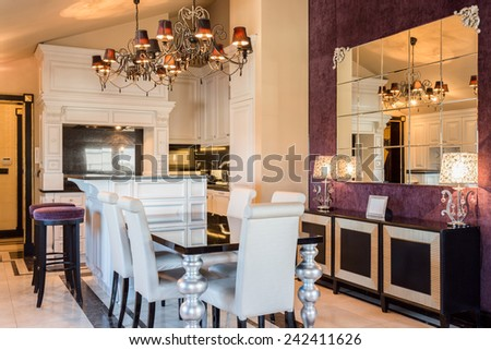 View of expensive house in baroque style - stock photo