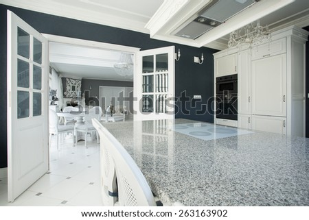 View of expensive kitchen with marble worktop - stock photo