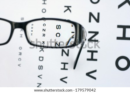 View of eye test through correction glasses, showing refraction and distortion chromatic aberration  - stock photo