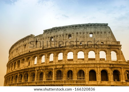 view of famous ancient Colosseum in Rome, Italy  - stock photo