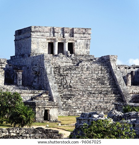 view of famous archaeological ruins of Tulum in Mexico - stock photo