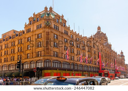 View of famous department store Harrods  - stock photo