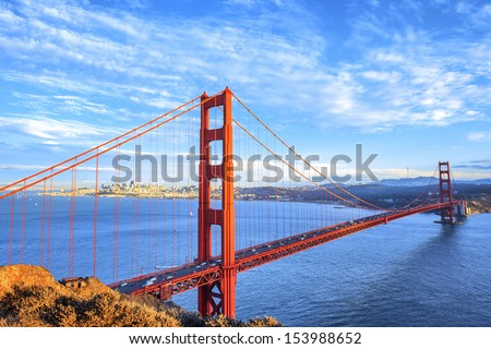 view of famous Golden Gate Bridge in San Francisco, California, USA  - stock photo
