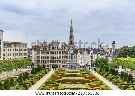View of famous Kunstberg or Mont des Arts (Mount of the arts) gardens. By end of 19th century, King Leopold II had idea to convert hill into a Mont des Arts gardens. Brussels, Belgium. - stock photo