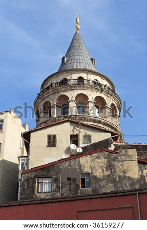 View of famous medieval Galata Tower in Istanbul, Turkey - Beyoglu district - stock photo