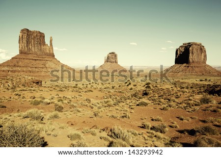 view of famous Monument Valley with special photographic processing, USA - stock photo