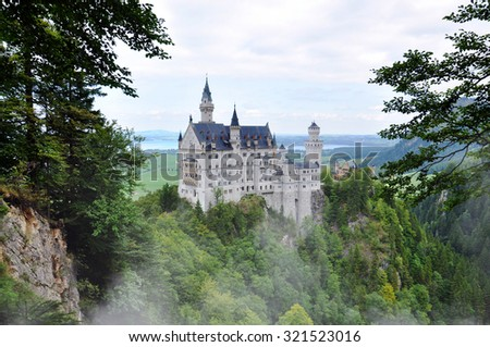 View of famous Neuschwanstein Castle Germany Bayern