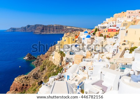 View of famous Oia village with colorful houses, Santorini island, Greece