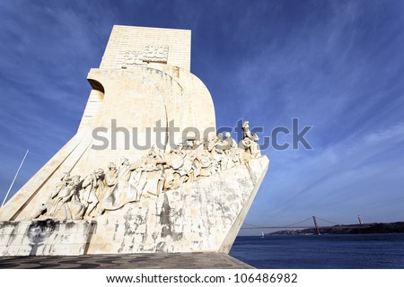 view of famous Padrao dos Descobrimentos, monument in Lisbon - stock photo
