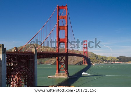 View of famous San Francisco Golden Gate bridge - stock photo