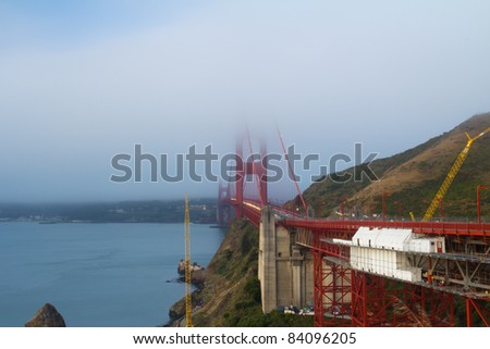 View of famous San Francisco Golden Gate bridge during cloudy day - stock photo