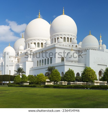 View of famous Sheikh Zayed Grand Mosque, UAE - stock photo