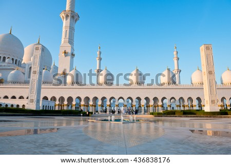 View of famous Sheikh Zayed White Mosque in Abu Dhabi, UAE - stock photo