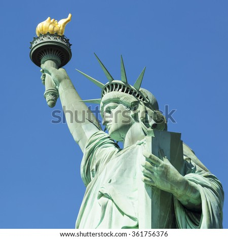 View of famous Statue of Liberty, New York. - stock photo