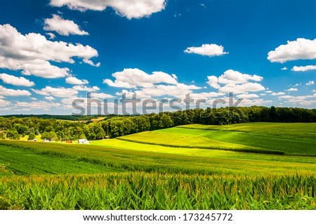 View of farm fields and rolling hills in rural York County, Pennsylvania. - stock photo