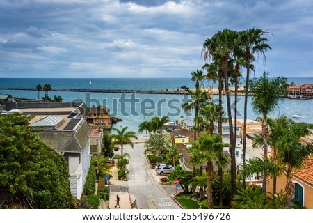 View of Fernleaf Avenue in Corona del Mar, California. - stock photo