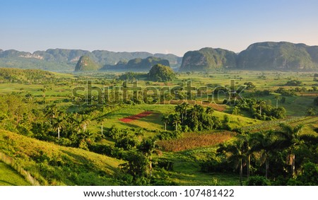 View of fields, mogotes and palms in Vinales Valley, Cuba - stock photo