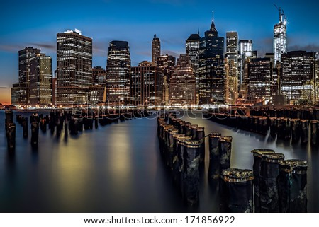 View of Financial District in Manhattan from Bridge Park, Brooklyn NY - stock photo