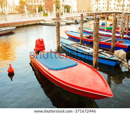View of fisherboats in Chioggia, little town in the Venetian lagoon