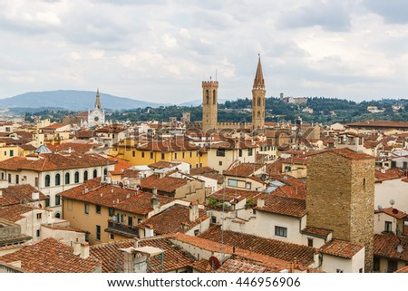 View of Florence from Piazzale Michelangelo in Florence, Tuscany, Italy - stock photo