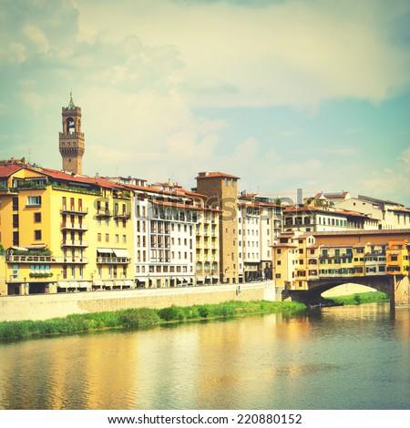 View of  Florence near Ponte Vecchio bridge, Italy. Instagram style filter - stock photo