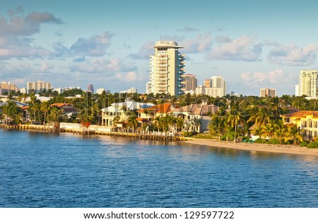 View of Fort Lauderdale, Florida, late in the day. - stock photo