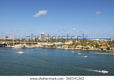 View of Fort Lauderdale Florida with boats during sunny day