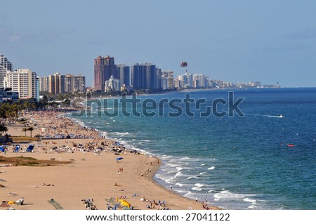 View of Fort Lauderdale from the air - stock photo