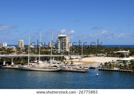 View of Fort Lauderdale Water front during bright day - stock photo