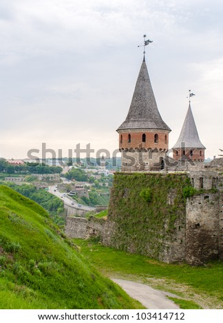 View of fortress and old town, Kamianets-Podilskyi, Ukraine - stock photo