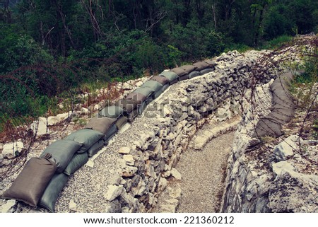 View of Foxhole of World War One, Sabotin mountain - stock photo