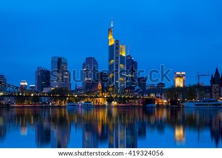 View of Frankfurt am Main skyline at dusk, Germany - stock photo