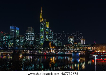 view of Frankfurt downtown from Main river at night, Germany