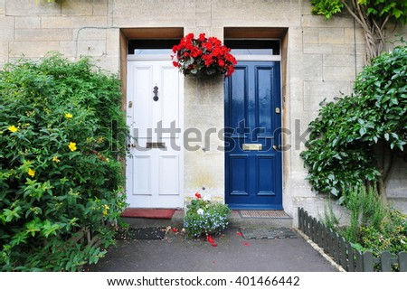 View of Front Doors of Old Neighbouring English Town Houses - stock photo