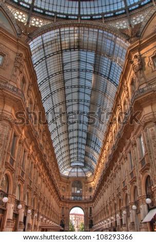 View of Galleria Vittorio Emanuele II - stock photo