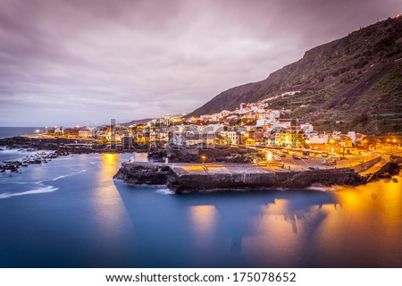 view of Garachico in the evening  in Tenerife island - Canary Spain - stock photo