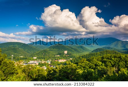 View of Gatlinburg, seen from Foothills Parkway in Great Smoky Mountains National Park, Tennessee. - stock photo