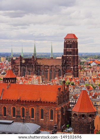 View of Gdansk and its beautiful colorful houses, Poland.