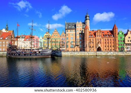 View of Gdansk's old Town and Brama Mariacka, Maria's Gate, from the Motlawa River, Poland - stock photo