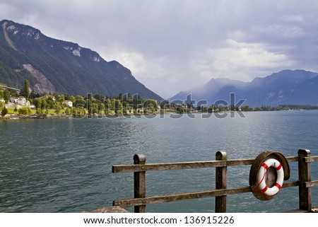 View of Geneva Lake near Chillon  - stock photo
