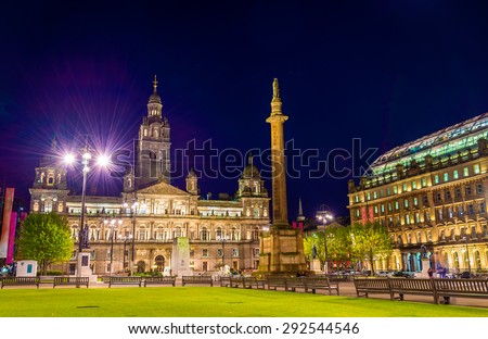 View of George Square in Glasgow at night - Scotland - stock photo
