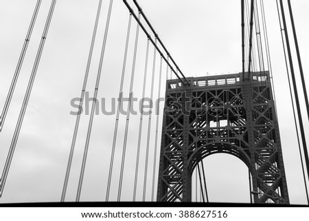 View of George Washington Bridge. Close up.  - stock photo
