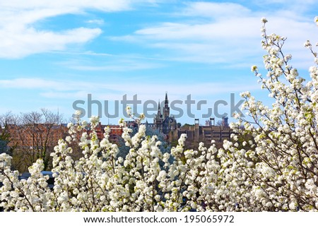 View of Georgetown University in spring blossom. Georgetown, Washington DC, USA - stock photo