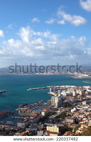 View of Gibraltar ; viewed from the rock of Gibraltar - stock photo