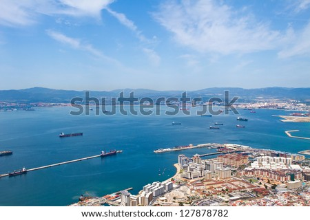view of Gibralter straight from the top of the rock - stock photo
