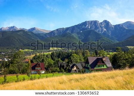 View of Giewont mountain from Gubalowka - Zakopane, Poland. - stock photo