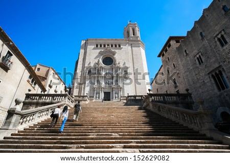 View of Girona Cathedral. Catalonia. Spain. - stock photo