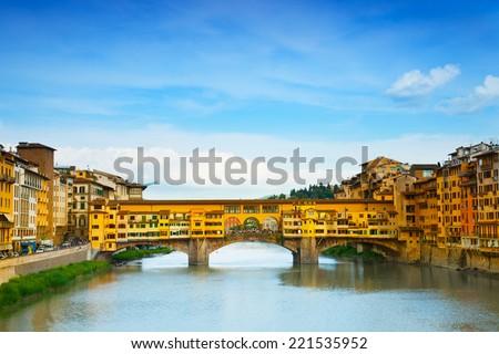 View of Gold (Ponte Vecchio) Bridge in Florence - stock photo