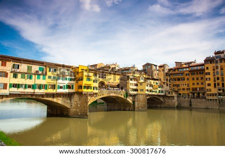 View of Gold (Ponte Vecchio) Bridge in Florence - stock photo