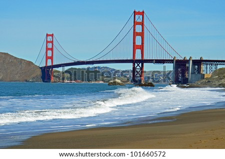 View of Golden Gate Bridge from Baker Beach - stock photo